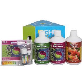 GHE Tripack FloraDuo+Ripen Hard Water - Kit fertilizzanti completo per tutto il ciclo