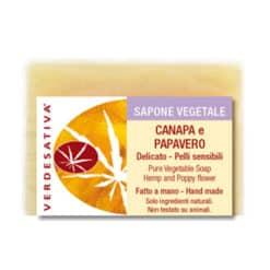 Sapone Canapa e Papavero delicato per pelli sensibili. Prodotto artigianale. Tagliato a mano. 100% eco naturale e bio degradabile.
