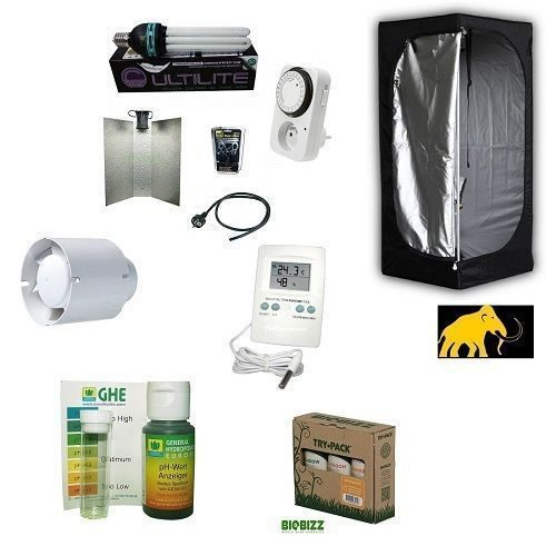 Kit Completo Coltivazione Indoor Grow Box-Grow Room 60x60x140+CFL 125W