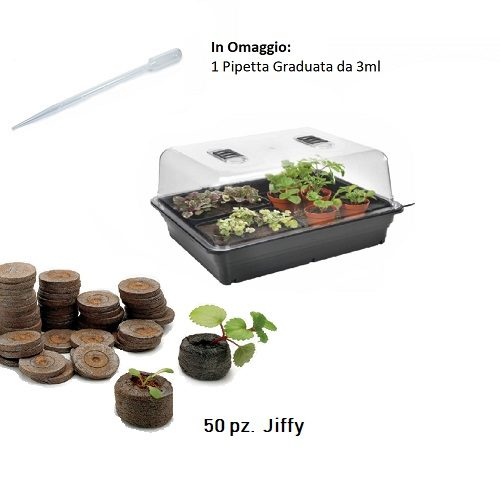 Kit Germinazione Completo con Mini Serra + 50 Jiffy per Coltivazione Indoor-Grow Box-Talee-Cloni