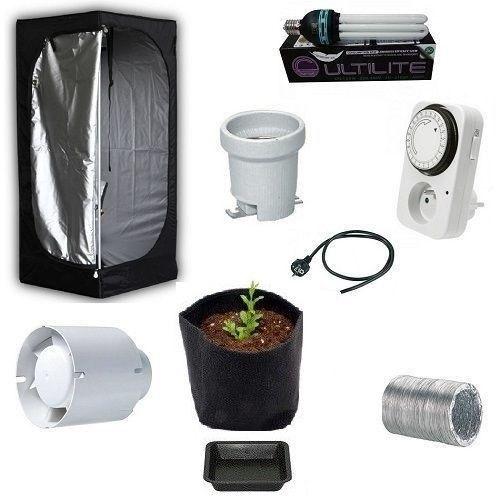 Kit Grow Box Mammoth Lite 60 60x60x140 + CFL 125W per Coltivazione Indoor