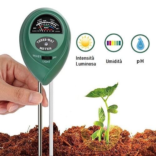 Tester Terreno 3 in 1 Misuratore di pH-Umidità-Intensità Luce Suolo Soil Meter per Giardinaggio